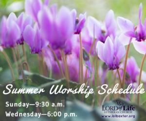 Summer Worship Schedule 1